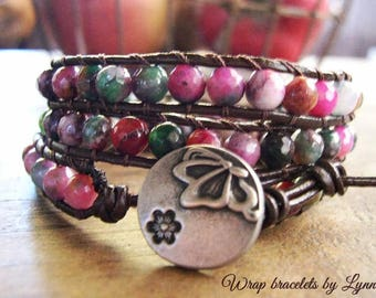 Beaded Leather Wrap Bracelet, Beaded wrap bracelet, Boho Bracelet - 986