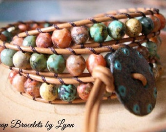 Beaded Leather Wrap Bracelet, Beaded wrap bracelet, Boho Bracelet - 1036