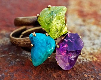 RAW GREEN PERIDOT, Raw Brass Ring - Adjustable Band Ring