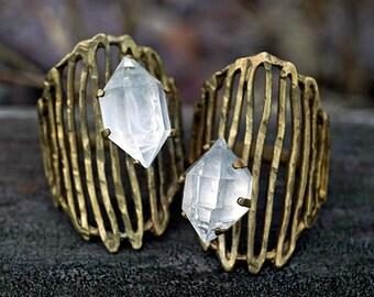 RAW HERKIMER DIAMOND Cage Ring