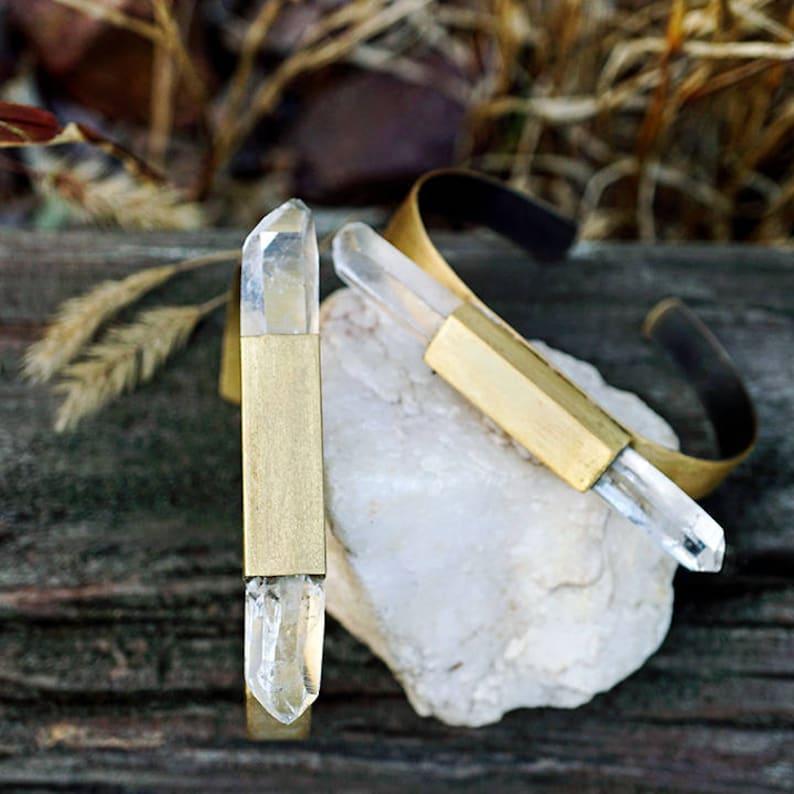 DIstressed Aged Brass RAW QUARTZ CRYSTAL Bar Cuff Bracelet