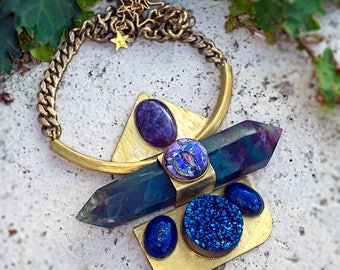 SANCTUARY FLUORITE PENDANT, With Amathyst, Sea Sediment, Druzy and Lapis Lazuli, - One Made #8