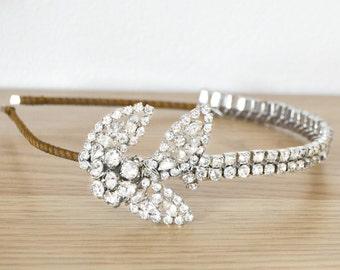 Wedding headband bridal vintage diamante headbands headpiece wedding 1920's Art Deco great gatsby