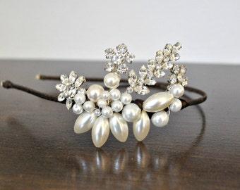 bridal wedding headpiece vintage diamante and pearl headband headdress headbands 1950's bride