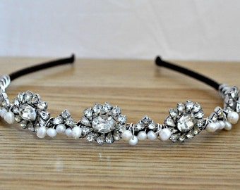 Wedding headband bridal headpiece headdress  headbands tiara diamante pearl art deco 1920's 1930's