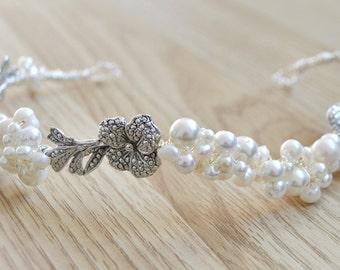 Bridal wedding headdress headpiece hair vine  ivory pearl and  vintage marcasite flowers