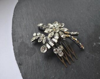 bridal hair comb  diamante diamonte rhinestone vintage flower
