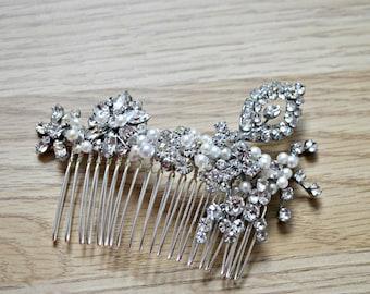 Vintage bridal hair comb diamante pearl wedding headpiece