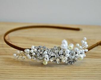 Wedding headband vintage bridal  side headress diamante pearl wedding bride