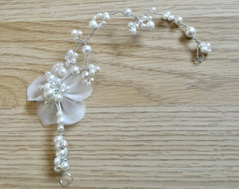 Bridal flower and pearl headpiece hair vine
