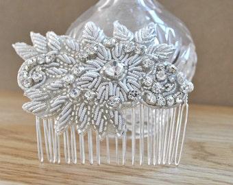 Bridal diamante hair comb wedding bride silver hair clip beaded