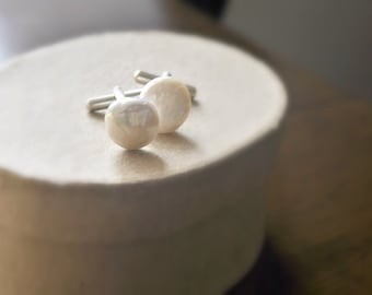 Pearl and sterling silver cuff links ivory freshwater pearls
