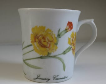 January Flower of the Month Mug (Carnation) The Toscany Collection- Free Shipping!