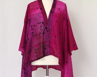 A Divine silk Jacket in a Brilliant Fuchsia and Black combo