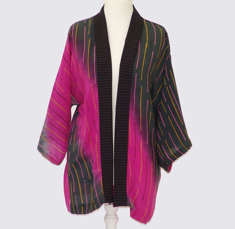 A Striking Silk Jacket in Shades of Pink and Gray