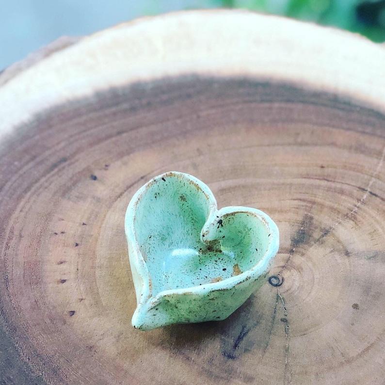 ceramic Heart shaped pottery clay ring dish hand raised