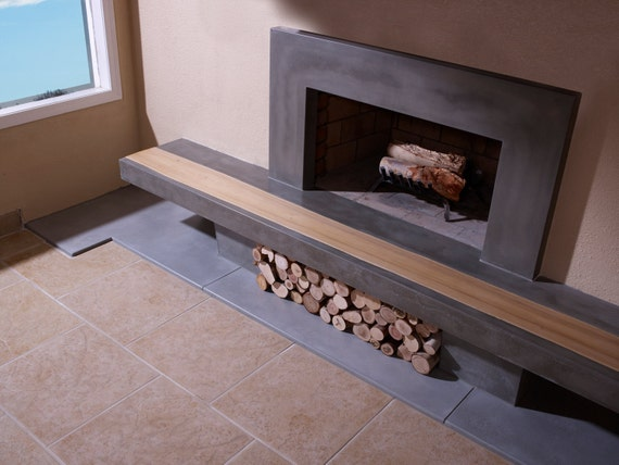 Concrete Fireplace Hearth With Wood Inlay And Surround