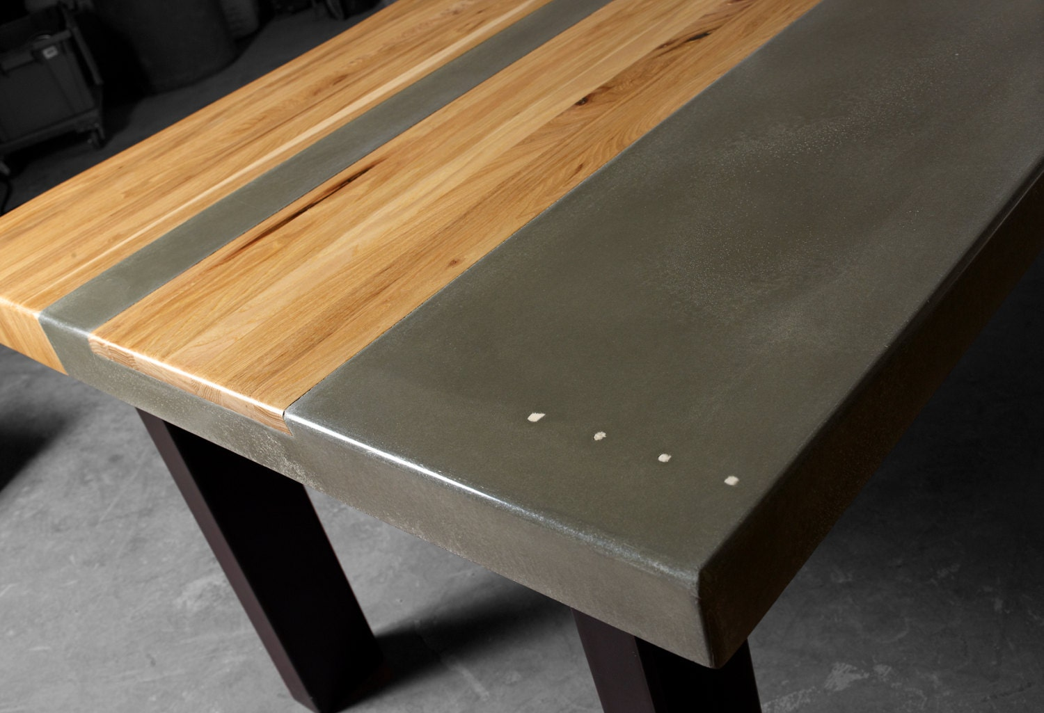 Concrete Wood Amp Steel Dining Kitchen Table Etsy