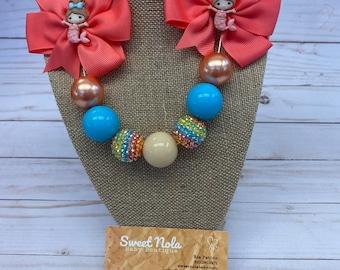 Bubblegum necklace and bow set ~ Bubblegum necklace ~ Toddler necklace ~