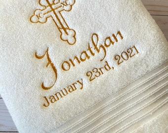 Baptism Towel ~ Christening Towel ~ Baptism Towels ~ Orthodox Personalized Baptism Towel ~ Baptism Gift ~ Christening Gift