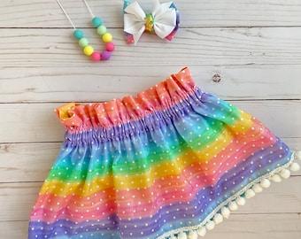 Rainbow skirt ~ Pastel Skirt ~ High Waist skirt ~ birthday skirt ~ rainbow birthday skirt