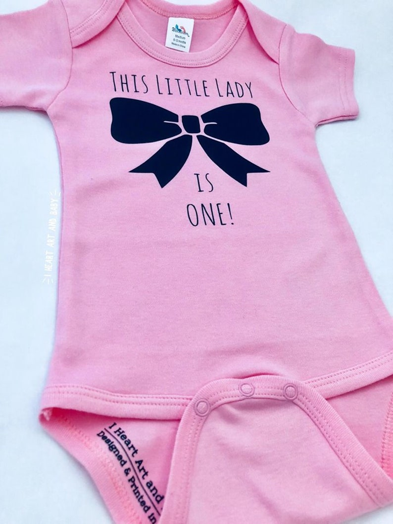 One Year Old Girl Birthday Outfit Girl First Birthday Shirt This Little Lady is One First Birthday Outfit Girl Bow Birthday Girl Shirt