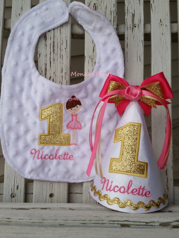 Ballerina Birthday Girls 1st Hat Bib