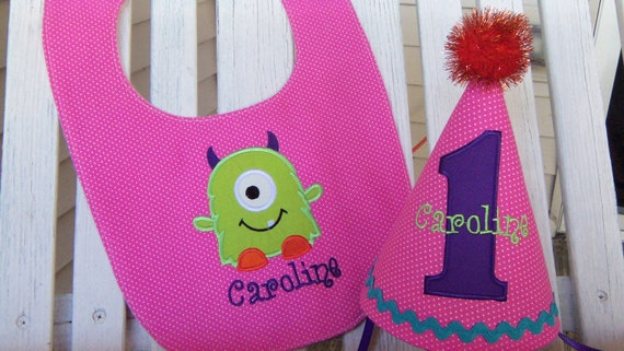 Monster 1st Birthday Party Hat Bib Set One Eyed