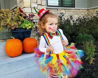 Halloween Costume Girl - Clown Petti Tutu Costume - Petti tutu, Leg warmers, Hat, Rainbow Suspenders and Bow Tie - Circus Birthday Party