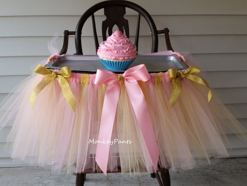 Pink And Gold 1st Birthday Decoration High Chair Tutu Skirt