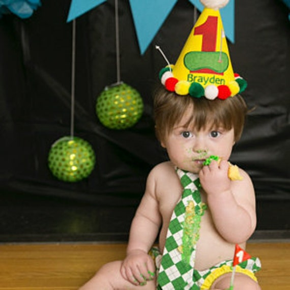 1st Birthday Outfit Boy Golf Party Hat Cake