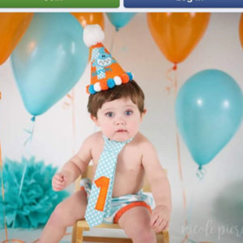1st Birthday Outfit Boy Baby Shark Cake Smash Party Diaper Cover Hat And Necktie Aqua Orange