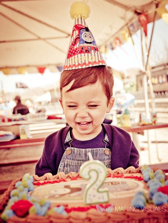2nd Birthday Boy Hat Engineer Train