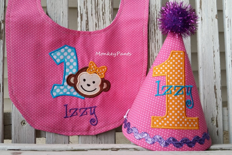 1st Birthday Hat Girl Mod Monkey Bib Set