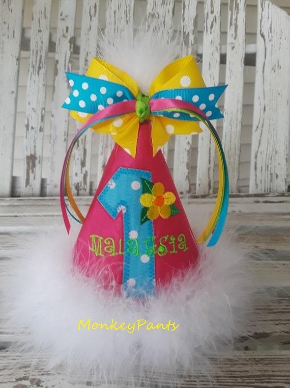 Luau Party Birthday Hat Girl 1st