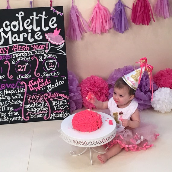 1st Birthday Girl Outfit Ballerina Hat And Bib Set