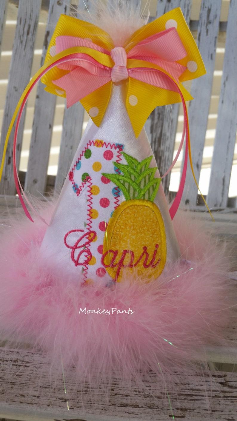 Hawaiian Luau Birthday Baby Girl 1st Hat