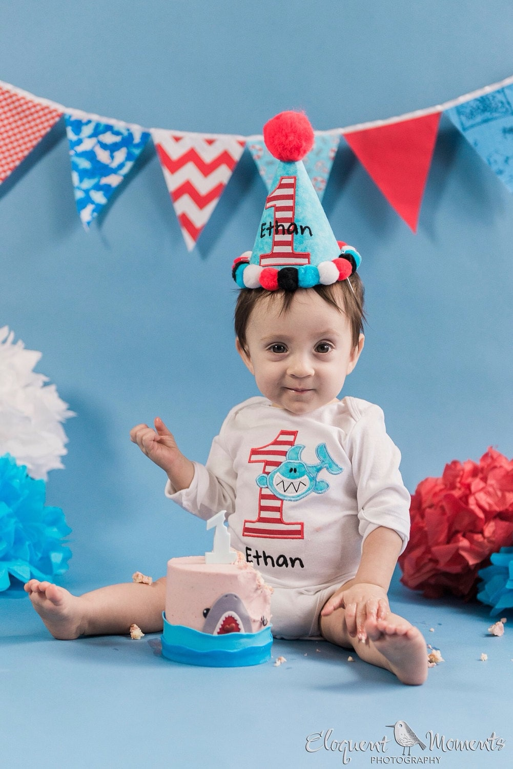 1st Birthday Boy Outfit Shark Shirt And Hat