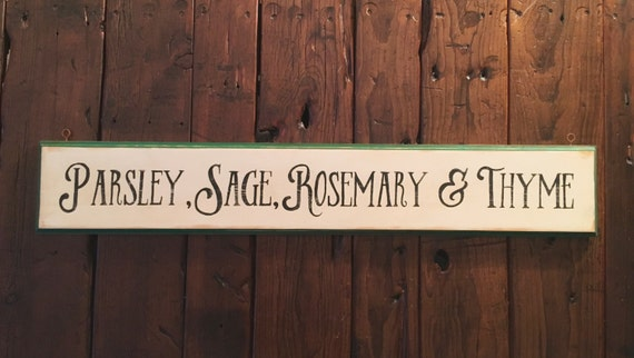 """Parsley Sign 5/"""" x 10/"""" Wood Herb Sign Kitchen Rustic Style Garden Sign"""