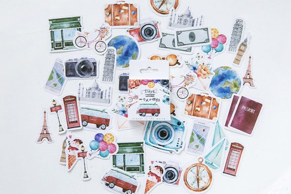 Diary Scrapbook Sticker Label Seal Pack Travel 46 Stickers Etsy