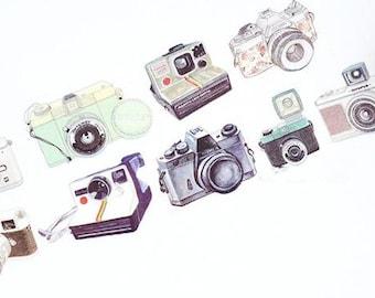 Diary Scrapbook Adhesive Masking Deco Washi Tape - Vintage Camera Lomo (3.5 cm Width)