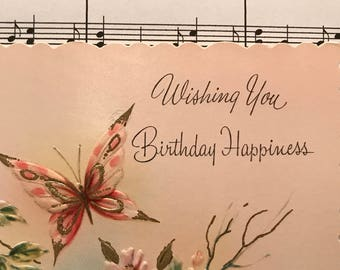 Unused Vintage Happy Birthday Greeting Card Without Envelope Wishing You Happiness 1940s For Her