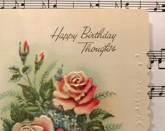 Unused Vintage Happy Birthday Greeting Card Without Envelope Thoughts 1940s