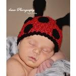 Children's Ladybug Girls Crochet Hat 0-12 Months Newborn Photo Prop Red
