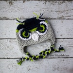 Children's Seattle Seahawks Inspired Blue Gray and Green Football Hawk Blitz Crochet Hat Photo Prop