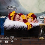 Baby Girls Hat and Diaper Cover Harry Potter Set Photography Session  Newborn Photo Prop Outfit Scarf Ruffles Bow