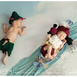 Peter Pan Captain Hook Neverland Hat and Diaper Cover Twin Boys Newborn Photography Outfit Photo Prop Set Preemies