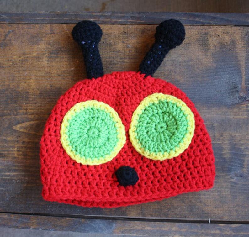 Newborn Red Caterpillar Bug Antena Crochet Hat  Photo Prop Hat image 0