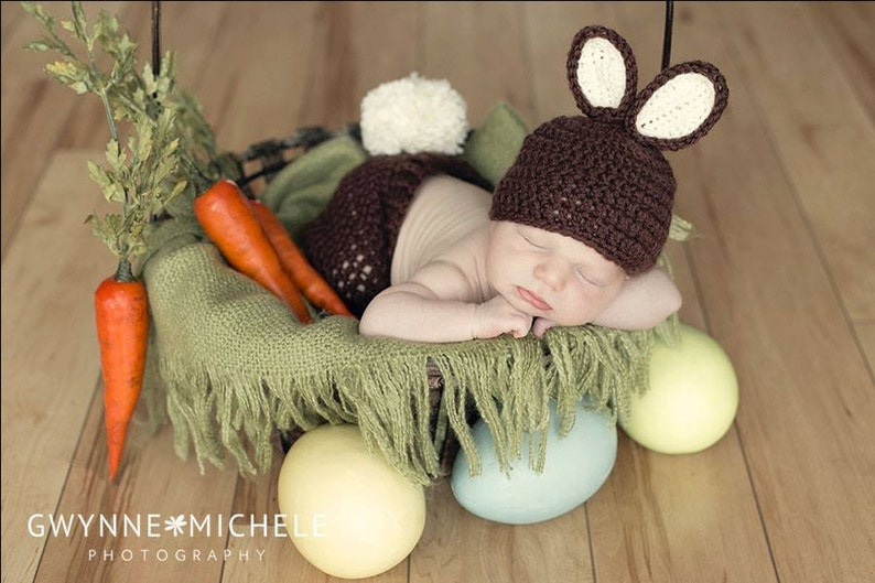 Newborn Bunny Hat and Pants Set Chocolate Brown and Cream image 0