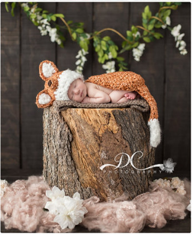 Newborn Fox Hat and Cover Cape and Hat Set Crochet Photo Prop image 0